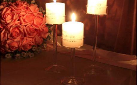 Elegantní skleněný svícen Crystal 11 cm - VÝPRODEJ
