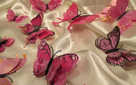 3D motýli s dvojitými křídly růžoví 12 ks 5 až 12 cm