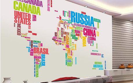 Mapa světa názvy zemí 122 x 74 cm