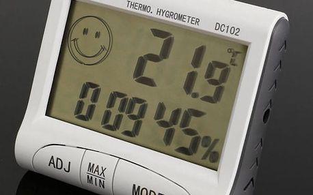 Malý digitální teploměr a vlhkoměr s hodinami a budíkem