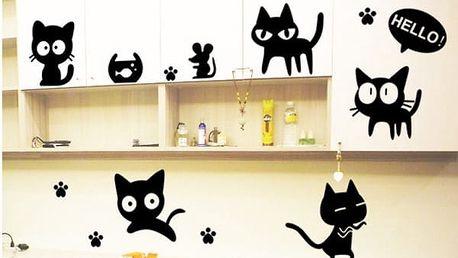 Samolepky na zeď s roztomilými kočičkami - dodání do 2 dnů