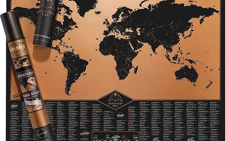 Seškrabávací mapa světa Luckies of London Black Adventure