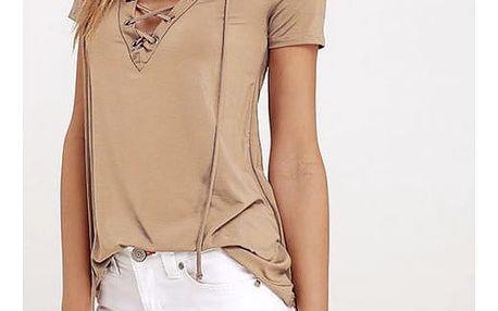 Dámské tričko s výstřihem s tkaničkou - 2 barvy