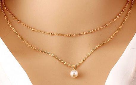 Dvouřadý náhrdelník s perlou