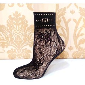 Dámské krajkované sexy ponožky - mix vzorů