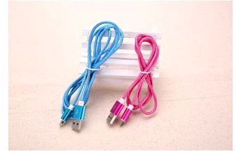 USB kabel s micro USB nebo s iPhone konektorem s pleteným vzhledem