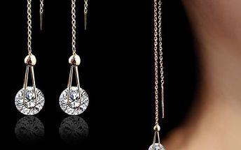 Náušnice provázkové s kamínkem ve stříbrné a zlaté barvě