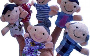 Maňásci na prsty - 6 ks postaviček v podobě členů rodiny