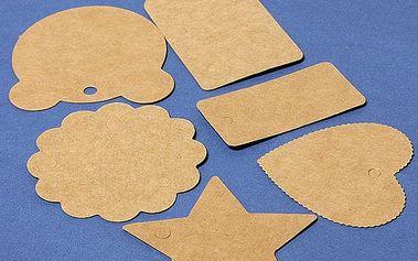 100 ks ozdobných papírových jmenovek - 6 tvarů