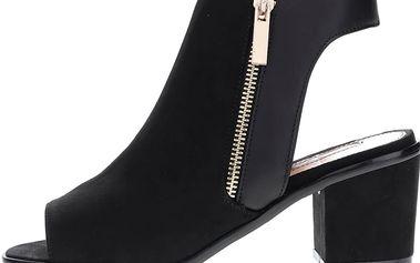 Černé boty s otevřenou špičkou a patou v semišové úpravě Miss Selfridge