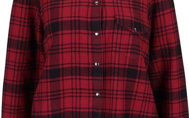 Černo-červená károvaná košile s roztřepeným okrajem Noisy May Erik