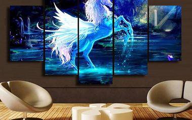 Bílý jednorožec s křídly - Sada obrázků bez rámu - 5 kusů