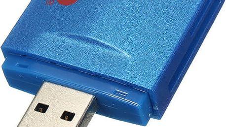 USB čtečka paměťových karet v modré barvě