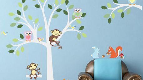Veselá samolepka pro děti - s přírodním motivem a zvířátky