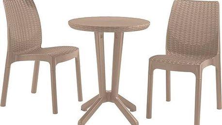 Ratanový nábytek Allibert Bistro set cappuccino