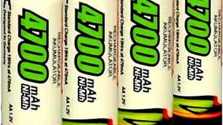 Dobíjecí tužkové baterie AA 4 kusy. Nabíjecí tužkové baterie AA o kapacitě 4700 mAh.