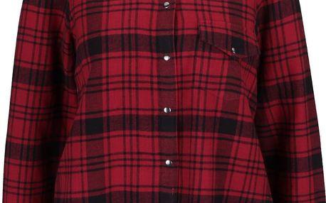 Černo-červená kostkovaná košile s roztřepeným okrajem Noisy May Erik