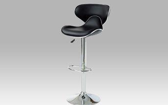 Barová židle AUB-317 BK, chrom/koženka černá