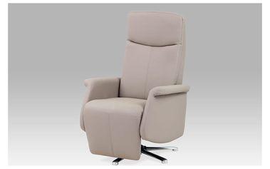 Relaxační křeslo, koženka lanýžová, chrom, TV-8103 LAN