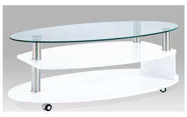 Konferenční stolek AHG-059 WT, sklo/vys. lesk bílý