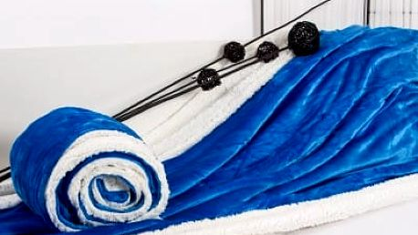 XPOSE ® Deka mikroflanel s beránkem - modrá 140x200 cm