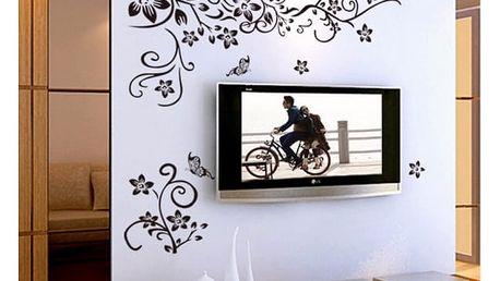 Samolepka na zeď - pnoucí květiny s motýlky