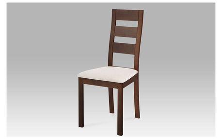 Židle masiv buk, barva ořech, potah světlý, BC-2603 WAL