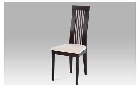 Jídelní židle BC-2411 BK masiv buk, moření wenge, potah krémový