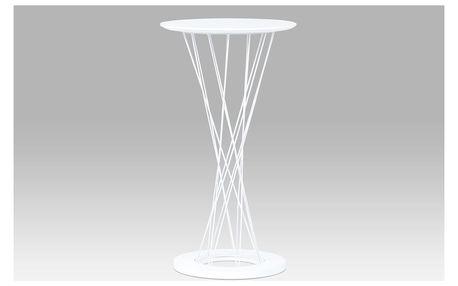 Barový stůl průměr 60x109, vysoký lesk bílý / bílá, AUB-9028 WT