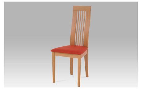 Jídelní židle BC-2411 BUK3, masiv buk, moření buk, potah terracotta