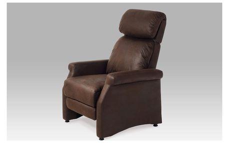 Relaxační křeslo, látka tmavě hnědá (imitace broušené kůže), TV-8057 BR3