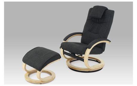 Relaxační křeslo s taburetem, látka černá/natural, TV-8714 BK2
