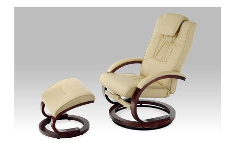 Relaxační křeslo s taburetem TV-8714 CAP, koženka cappuccino