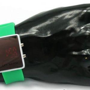 Elegantní zrcadlové LED hodinky - zelené