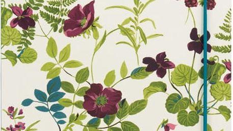 Linkovaný zápisník A5 s elastickou gumou Portico Designs Laura Ashley, 80 stránek