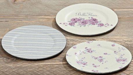 Sada 3 plastových talířů Fleur