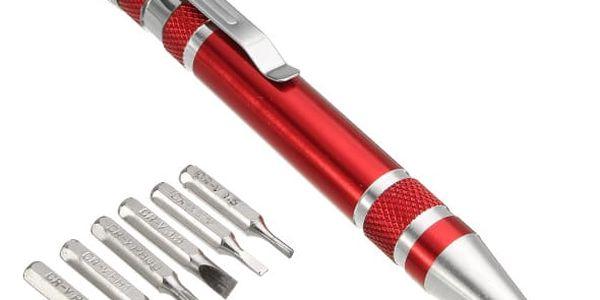 Minišroubovák ve tvaru pera s výměnnými bity - 7v1 - červená - dodání do 2 dnů