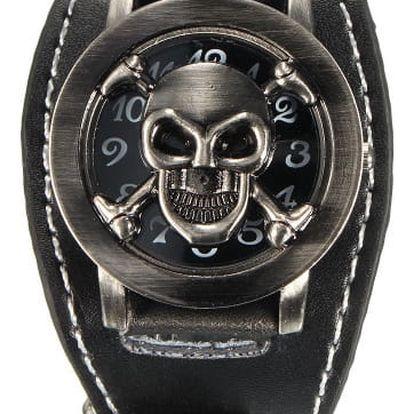 Náramkové hodinky s odklápěcí lebkou - dodání do 2 dnů