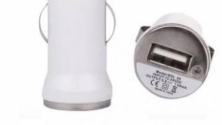 Mini USB autonabíječka v bílé barvě - dodání do 2 dnů