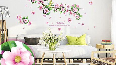 Větev s květy a ptáčky 105 x 66 cm