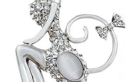 Brož v provedení roztomilé kočičky ve stříbrné barvě
