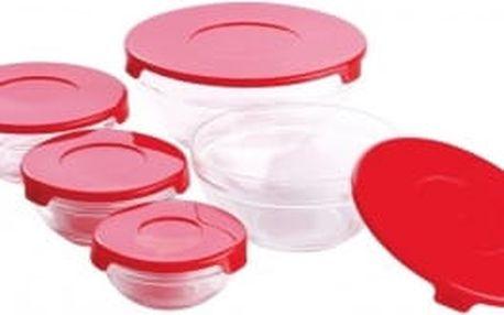 Dózy skleněné sada 10 ks červené RENBERG RB-4419-RD
