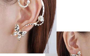 Náušnice na ucho - pár motýlků - dodání do 2 dnů