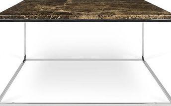 Hnědý mramorový konferenční stolek s chromovými nohami TemaHome Gleam, 75 cm - doprava zdarma!