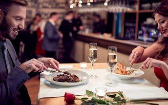Romantická večeře: Hlavní chod a dezert pro 2