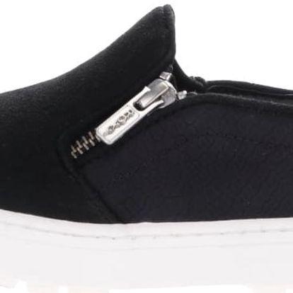 Černé loafers s ozdobným zipem Roxy Juno