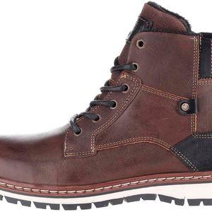 Tmavě hnědé pánské kožené kotníkové boty se zipem Bullboxe