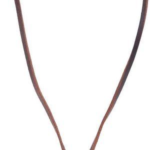 Hnědý pánský kožený náhrdelník s peříčky Lucleon Feather