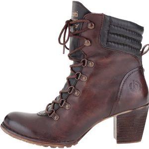 Tmavě hnědé dámské kožené kotníkové boty na podpatku bugatti Cathy Evo