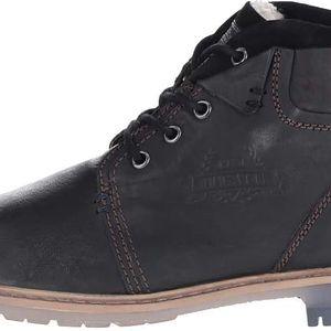 Černé pánské kožené kotníkové boty s umělou kožešinou bugatti Revo